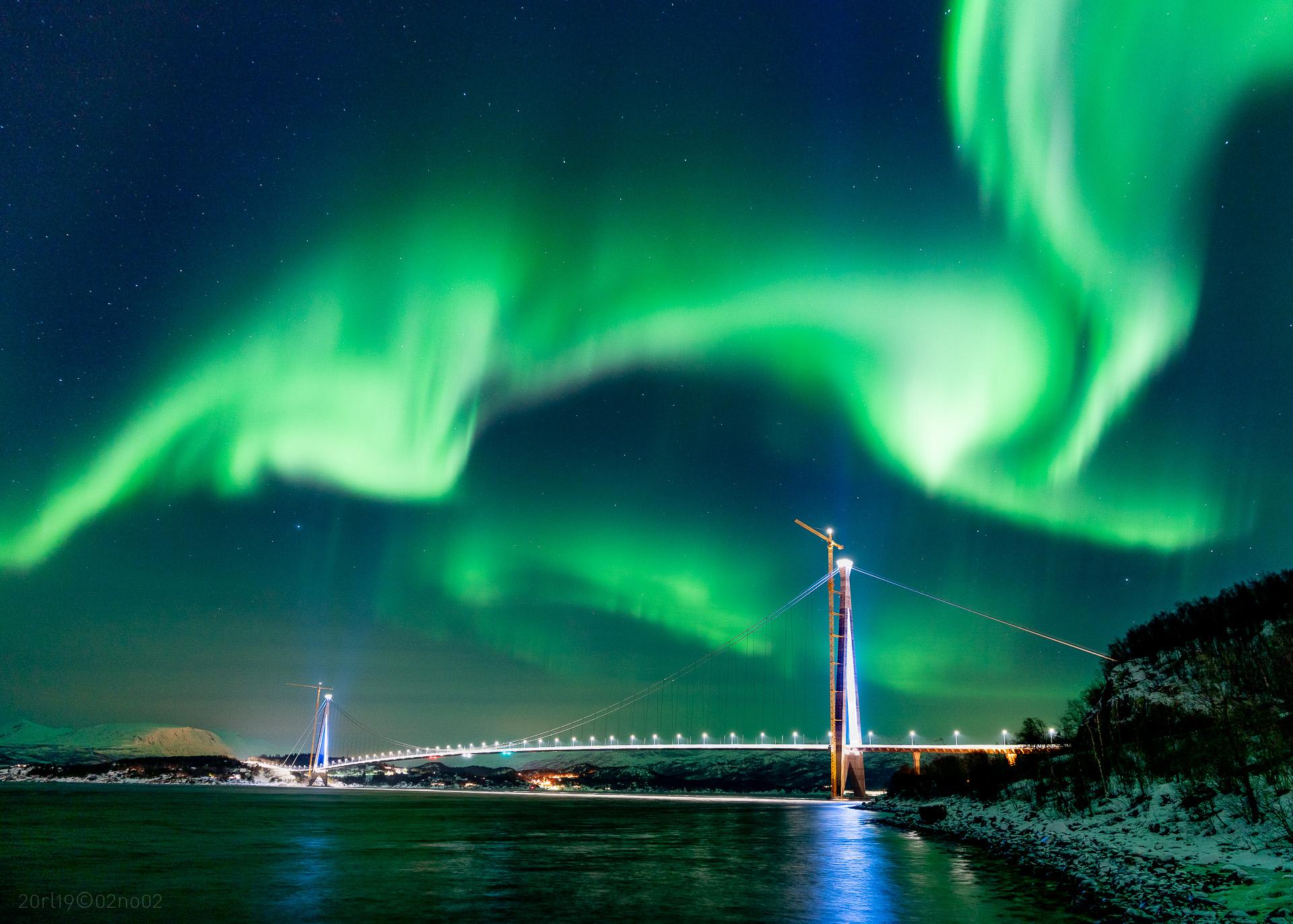 Nordlys over Hålogalandsbrua