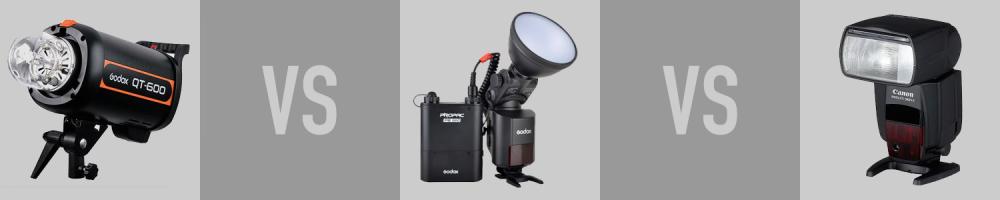 Godox QT-600 vs. Godox Witstro AD360 vs. Canon Speedlite 580EX II