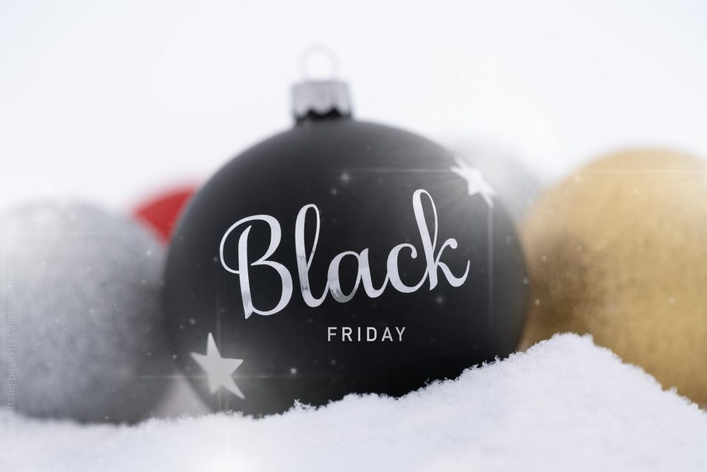 Black friday christmas ball ornament