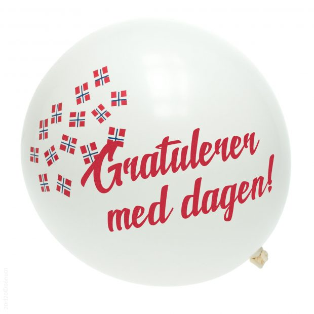Ballong med norske flagg